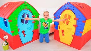 Vlad and Nikita Pretend Play with Playhouse for kids