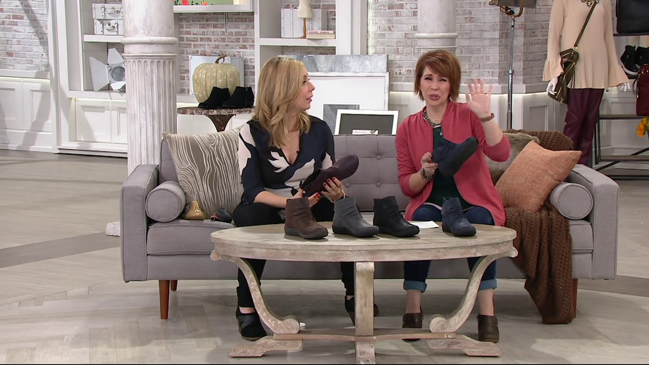 7eb5022ee2b2 Clarks Cloud Steppers Ruched Ankle Boots - Sillian Sway on QVC - YouTube
