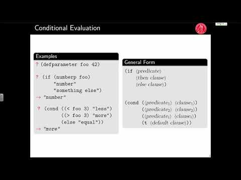 Mastering Common Lisp (Lecture 3; September 6, 2017)