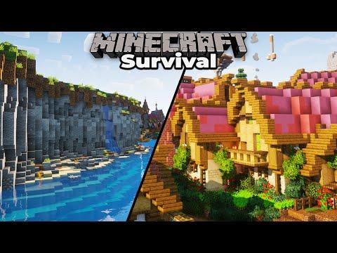 Medieval Village progress and Sea Cliff Terraforming in Minecraft 1.15 Survival Let's Play