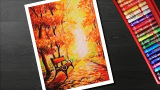 How to draw Autumn scenery drawing and painting for beginners