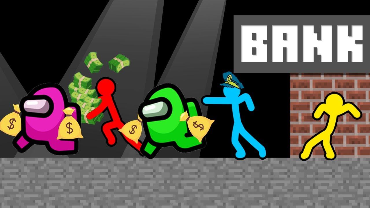 Stickman VS Among Us: Bank Robbery - AVM Shorts Animation