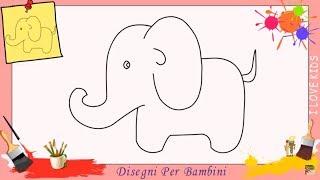 Disegni di elefante 2 - Come disegnare un elefante FACILE passo per passo per bambini