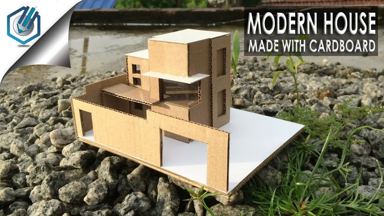 Charming How To Make Cardboard Modern House Easy  With Dimensions
