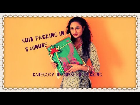 wedding Suit/saree  packing in 5 minutes/ wedding trousseau packing  idea