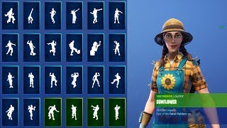 *NEW* SUNFLOWER SKIN SHOWCASE WITH ALL FORTNITE DANCES & NEW EMOTES! (Fortnite Season 8 Skin)