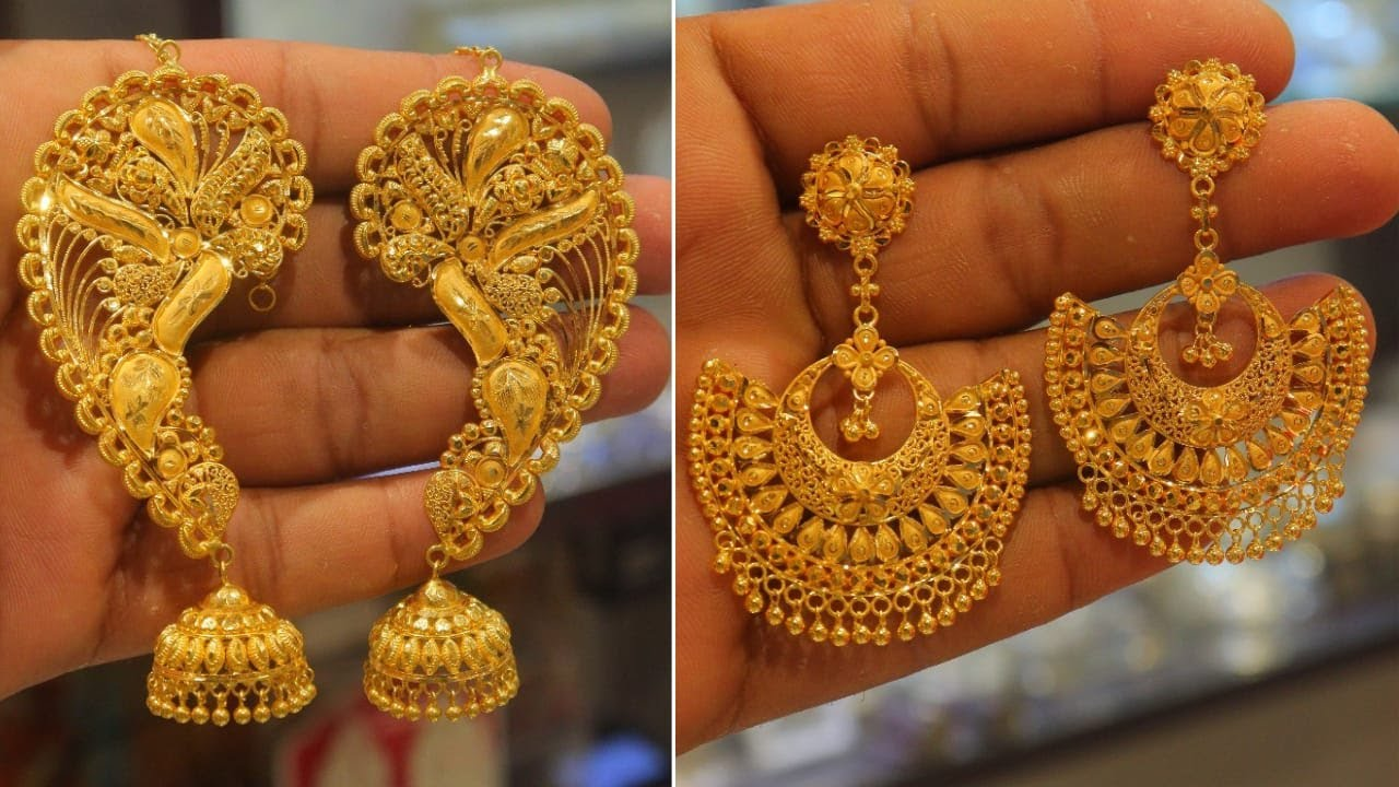 Download Latest Jhumka Collection |Light Weight Gold Jhumka And FullKan Earring With Price Weight@Crazy Jena