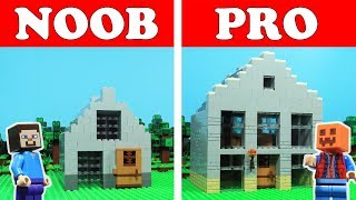 Lego Minecraft - NOOB vs PRO - Old Tenement HOUSE Challenge Animation