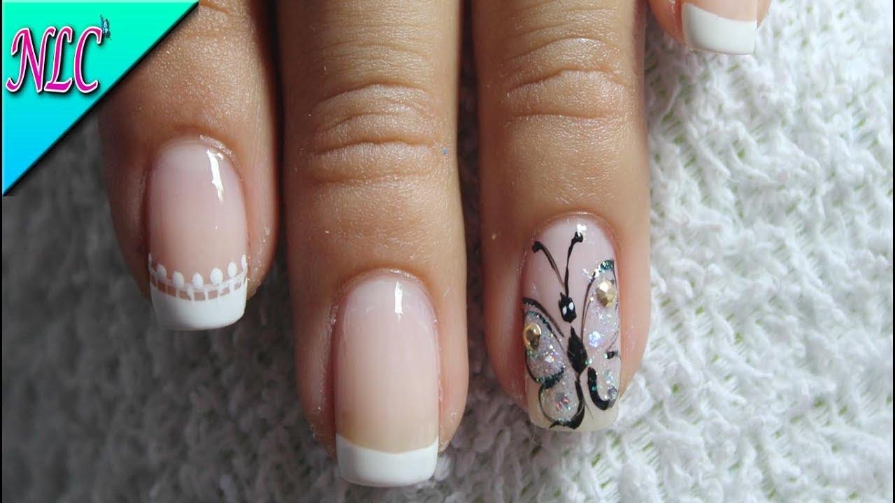 Decoración De Uñas Mariposa Y Francés Butterfly Nail Art French Nail Art Nlc