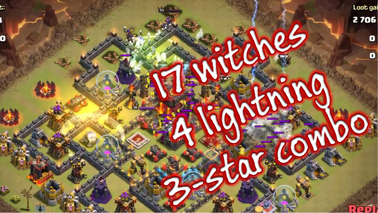 Clash of clans witch attack - all witches 4 lightning spell destroy max th10