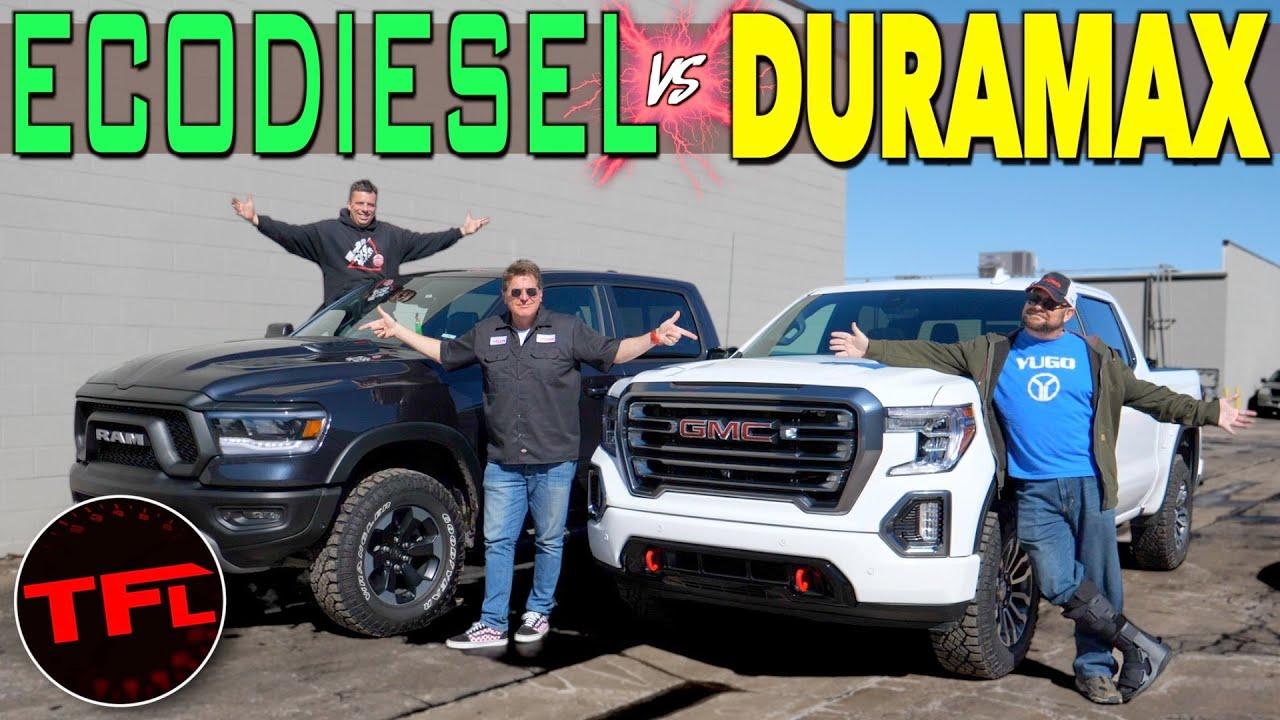 Best Diesel Truck 2020 Gmc Sierra At4 Vs Ram Rebel Diesel 0 60 Mph Buddy Review Youtube