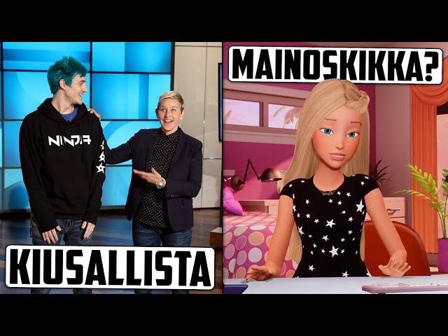 Puhutaan Fortnite-pelaaja Ninjan vierailusta Ellenissä.. Tiesitkö että Barbie vlogaa?