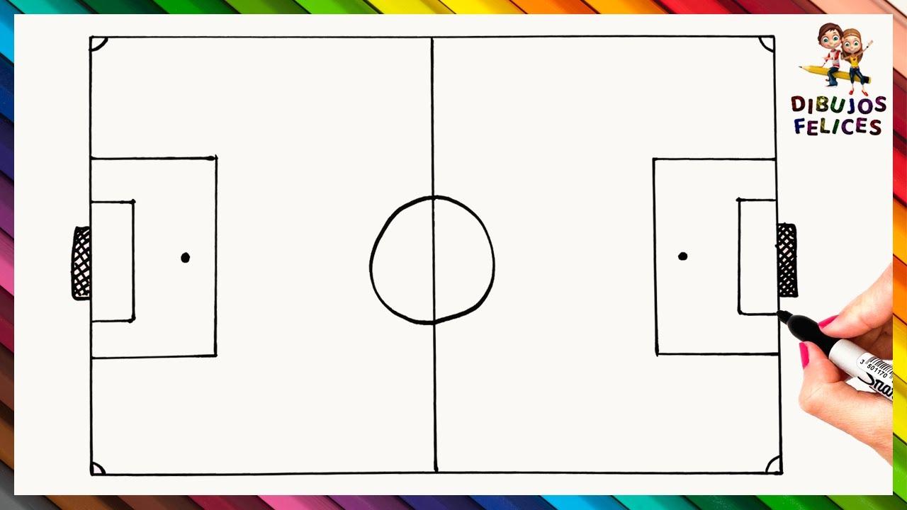 Como Dibujar Un Cancha De Futbol Paso A Paso Y Facil Cancha De Futbol Cancha De Futbol Dibujo Deportes Dibujos