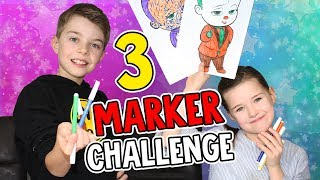 3 MARKER CHALLENGE - Paw Patrol, Minions & Baby Boss - Lulu & Leon - Family and Fun