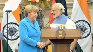 PM Modi & Chancellor of Germany, Angela Merkel at the Joint Press Statement in New Delhi
