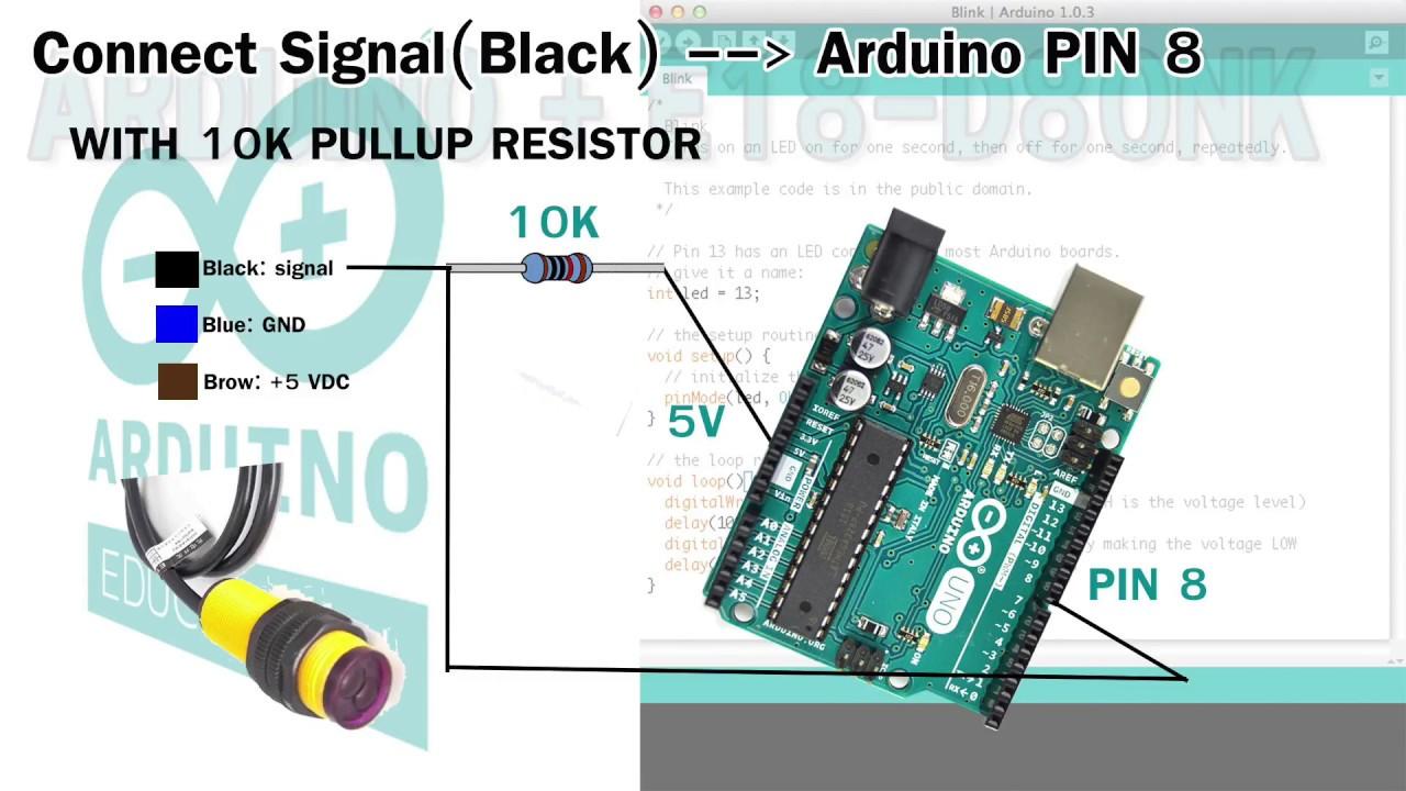 Infrared E18-D80NK with Arduino sensor tutorial - YouTube
