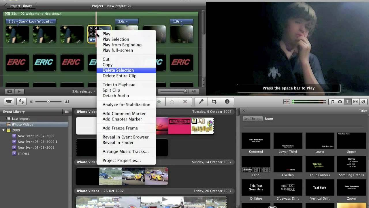 How to add freeze frames on IMOVIE - YouTube