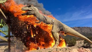 Life size T Rex statue bursts into flames at theme park