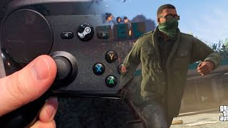 STEAM CONTROLLER - TESTANDO NO GTA V! Pilotagem e Mira - Review Steam Controller HandCam