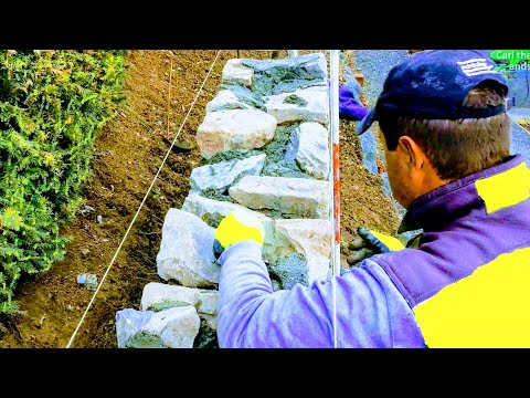 Building a rock retaining wall with mortar