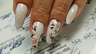 Дизайн ногтей. Хрустальные цветы. Втирка пигментом единорог. this video has English subtitles