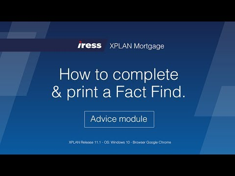 10  IRESS XPLAN Mortgage How to complete & print a fact find