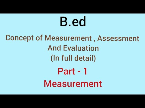 Measurement, Assessment & Evaluation | Part -1 Measurement | B.ed 2018 - 19