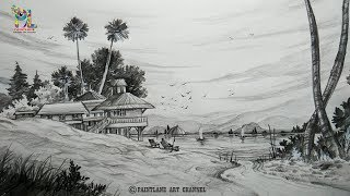 lake scenery sketch landscape draw drawings step drawing sketches shading pencil simple nature background easy cool