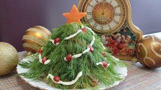 """Салат """" Ёлочка"""" из Оливье. Традиционный Новогодний салат."""