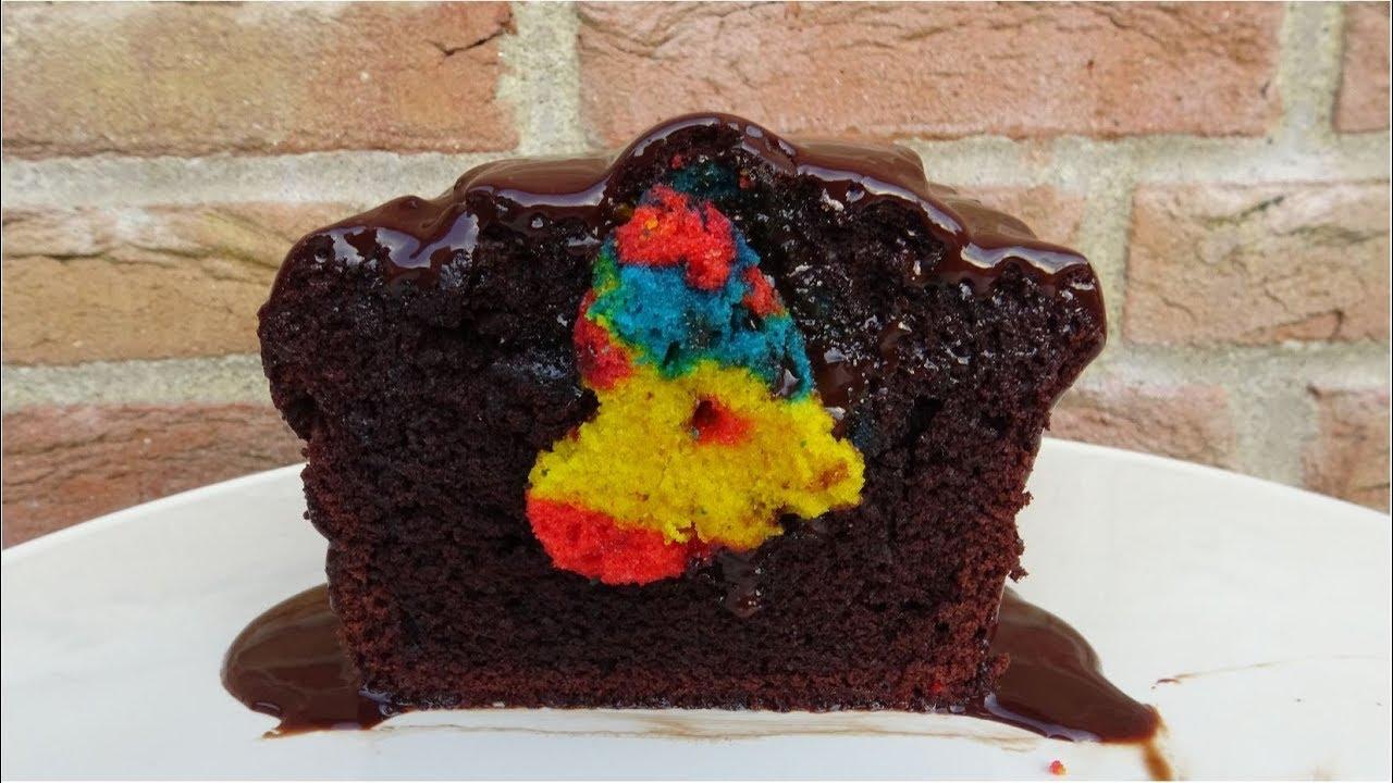 Chokolade kage m. regnbue-hjerte | Mad I Trin