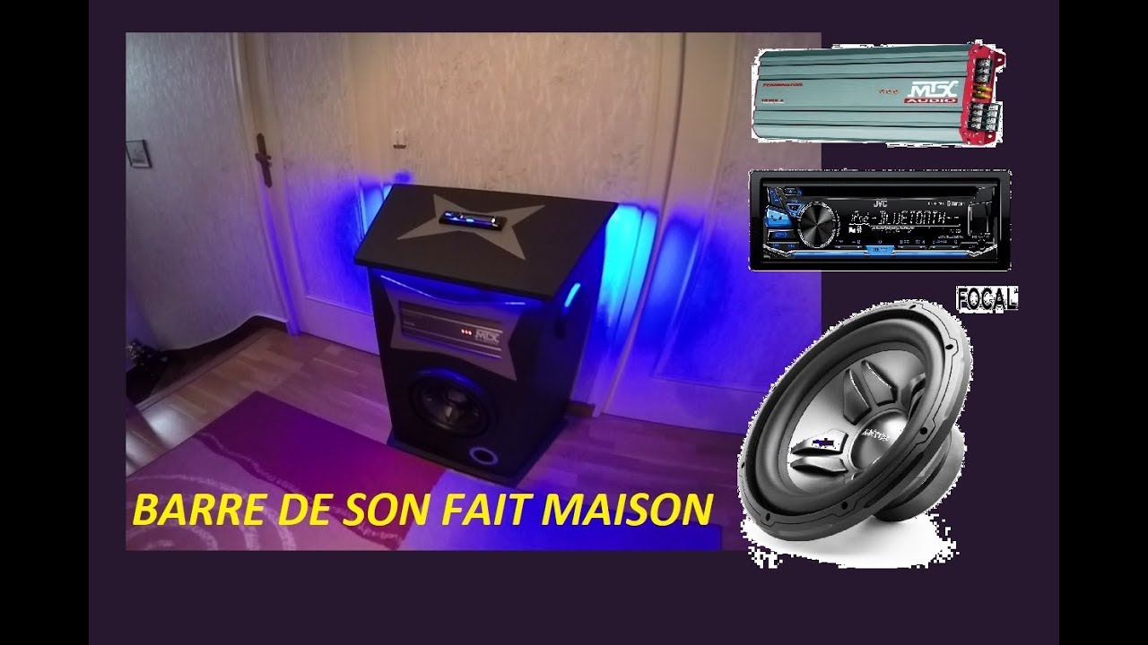 barre de son fait maison avec autoradio ampli voiture brancher sur du 220v youtube. Black Bedroom Furniture Sets. Home Design Ideas