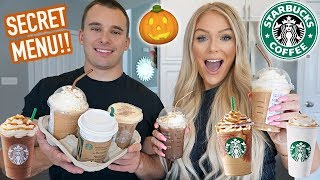TRYING ALL OF STARBUCKS FALL DRINKS | NEW SECRET MENU ITEMS