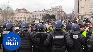 Yellow vest protesters violently clash with Police in Paris