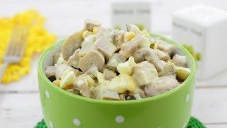 Салат с мясом и грибами — видео рецепт