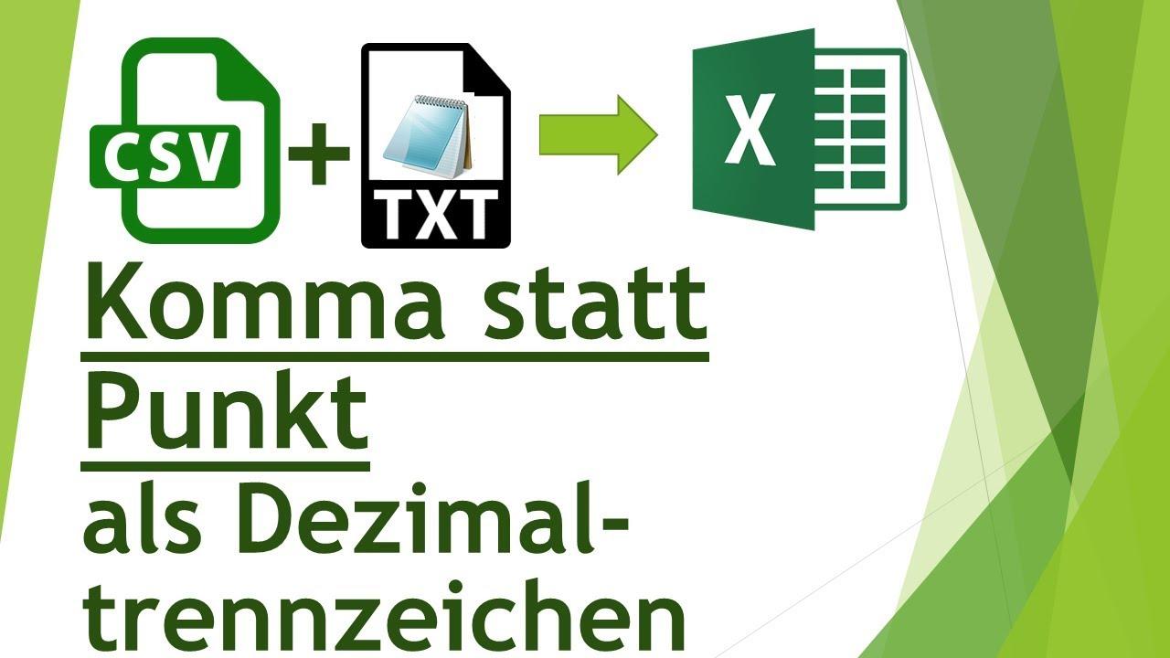 Excel Dezimaltrennzeichen