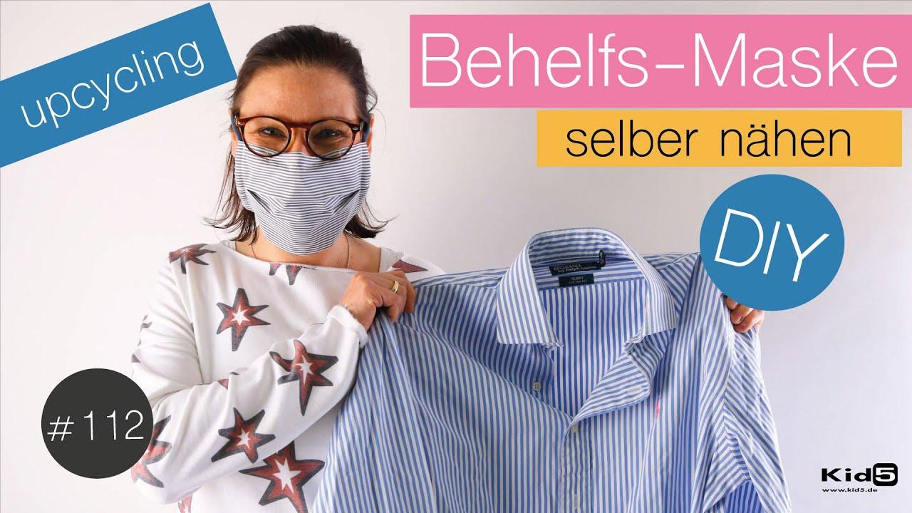 """""""Mund-Nasen-Behelfsmaske"""" ohne Schrägband und Gummi selber nähen / upcycling  / Schnittmuster GRATIS"""