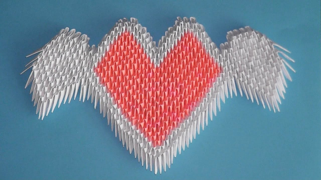 3D Origami Valentine Heart With Wings Tutorial