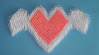 3D origami valentine heart with wings tutorial (instruction)
