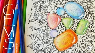 How to Draw Gems | Colored Pencil Tutorial | Zentangle Inspired Art with Gemstones