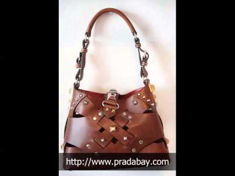prada wallet replica - Prada Woven Leather Studded Lattice Brown Bag - YouTube