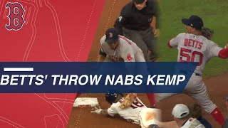 Mookie Betts throws out Tony Kemp with a laser