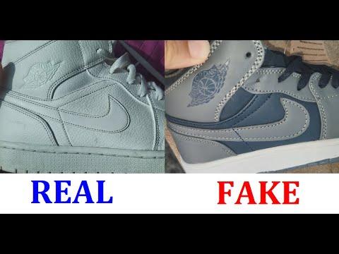 Real vs Fake Jordan 1 mid sneakers. How to spot counterfeit Nike Air Jordan 1 shoes