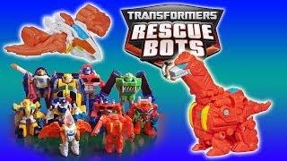Transformers toys Rescue Bots Dinobots Dinosaur robots Blades and Heatwave videos