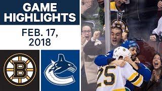 NHL Game Highlights   Bruins vs. Canucks - Feb. 17, 2018