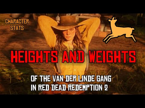 RED READ REDEMPTION 2 ☆ CHARACTERS HEIGHTS AND WEIGHTS ☆ RDR2 Van Der Linde Gang  ( Arthur, Dutch )