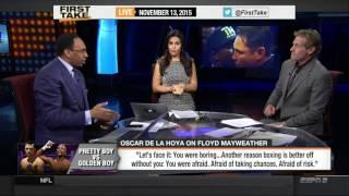 FIRST TAKE HD 11/13/2015 - Oscar De La Hoya rips Floyd Mayweather: 'You were boring