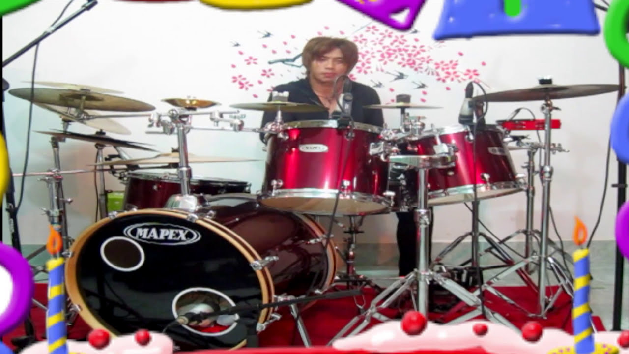 Drum Cover Happy Birthday Song By แนช Nach