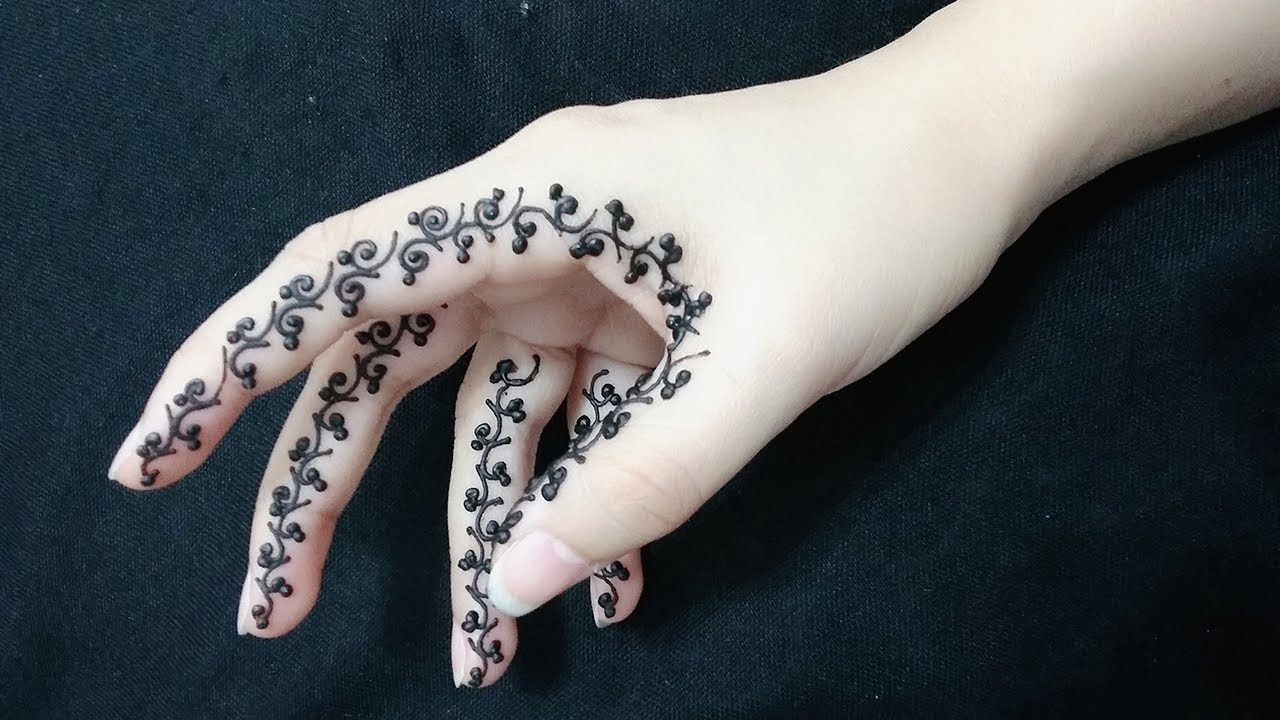 Simple Henna: Easy Henna Design On The Side Of Fingers For Beginners