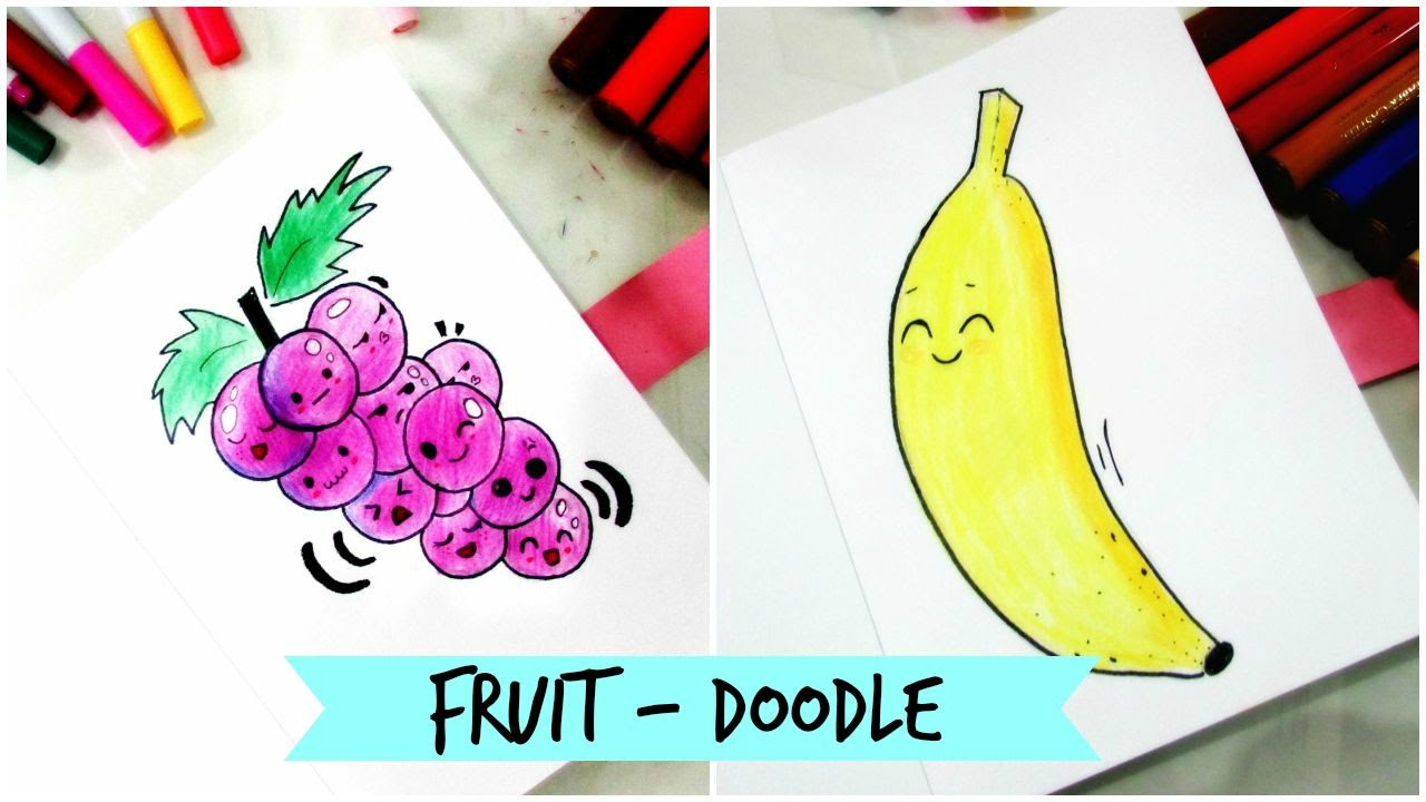 How To Draw Cute Fruit Doodle Part 1 Youtube