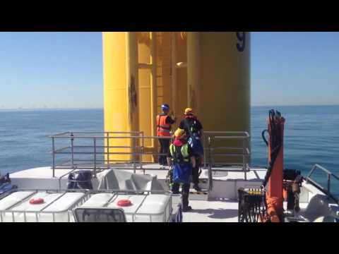 A flat calm day on the Greater Gabbard Offshore Windfarm